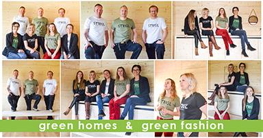Mitarbeiter der Firma Holzbau Strigl in ihren neuen Shirts von Ecolodge